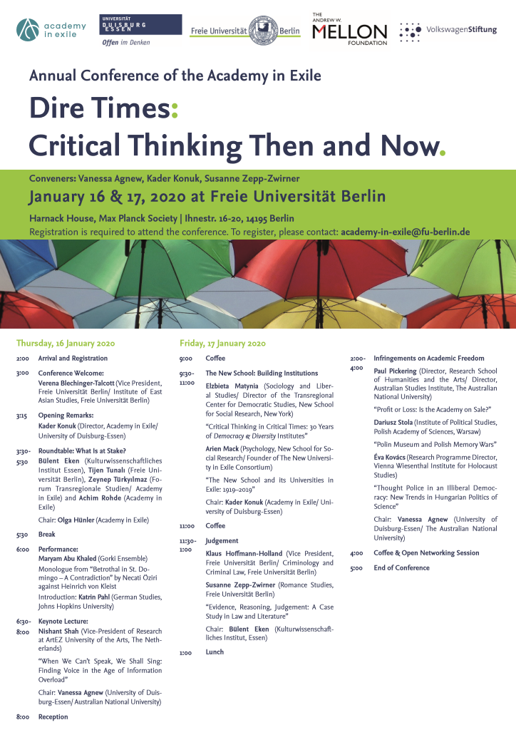"""Announcement for AiE's second annual conference, """"Dire Times: Critical Thinking Then and Now"""""""